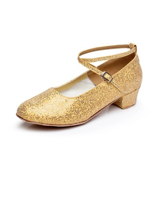Women's Kids' Sparkling Glitter Heels Pumps Modern With Ankle Strap Dance Shoes