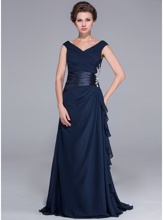 A-Line/Princess Off-the-Shoulder Sweep Train Chiffon Charmeuse Mother of the Bride Dress With Beading Appliques Cascading Ruffles