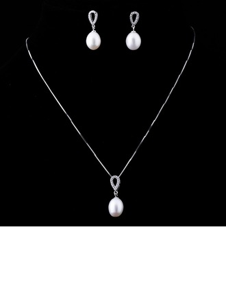 Elegant Pearl/Sterling Silver Ladies' Jewelry Sets