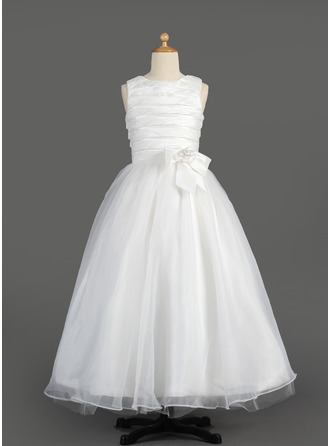 A-Line/Princess Scoop Neck Floor-Length Taffeta Organza Flower Girl Dress With Ruffle Flower(s) Bow(s)