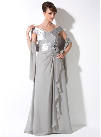 A-Line/Princess Off-the-Shoulder Floor-Length Chiffon Charmeuse Mother of the Bride Dress With Lace Flower(s) Cascading Ruffles