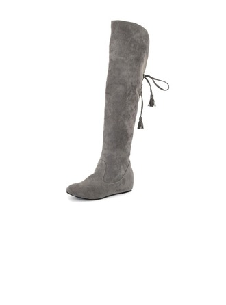 Women's Suede Low Heel Closed Toe Wedges Over The Knee Boots shoes