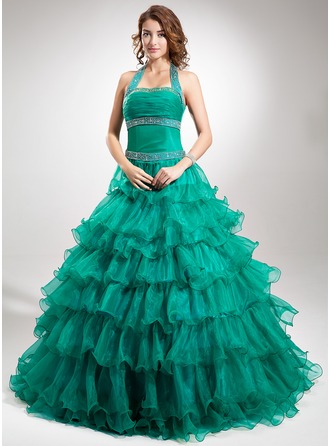 Ball-Gown Halter Floor-Length Organza Satin Quinceanera Dress With Beading Cascading Ruffles