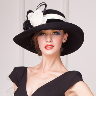 Ladies' Vintage Wool With Silk Flower Floppy Hat