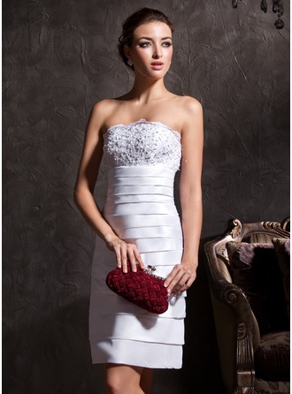 Sheath/Column Strapless Knee-Length Taffeta Wedding Dress With Lace Beading