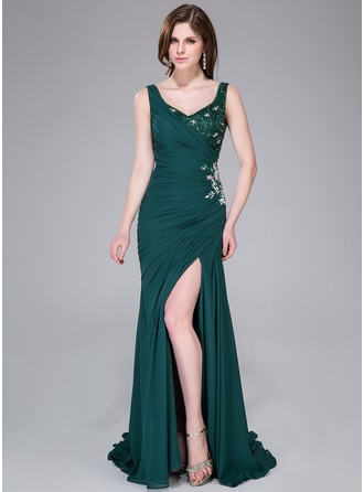 Trumpet/Mermaid V-neck Sweep Train Chiffon Lace Evening Dress With Ruffle Lace Beading Sequins Split Front