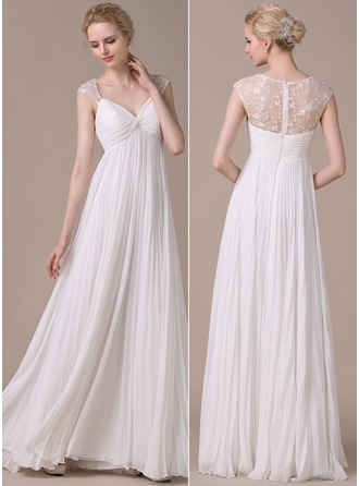 A-Line/Princess Sweetheart Floor-Length Chiffon Lace Wedding Dress With Pleated