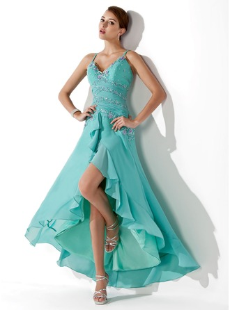 A-Line/Princess Sweetheart Asymmetrical Chiffon Prom Dress With Ruffle Beading Appliques Sequins Cascading Ruffles