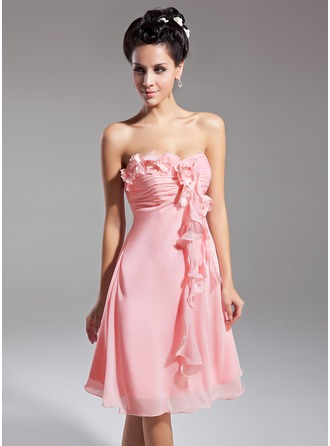 Empire Sweetheart Knee-Length Chiffon Homecoming Dress With Flower(s) Cascading Ruffles