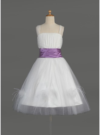 A-Line/Princess Square Neckline Knee-Length Tulle Flower Girl Dress With Ruffle Sash Feather
