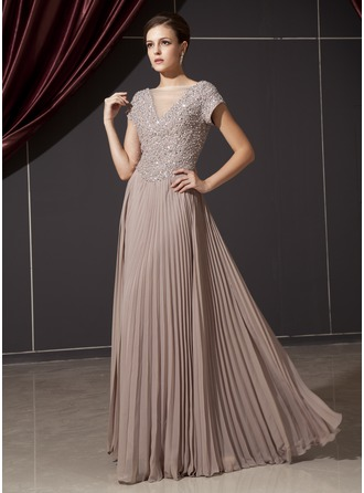 A-Line/Princess V-neck Floor-Length Chiffon Mother of the Bride Dress With Beading Appliques Lace Sequins Pleated