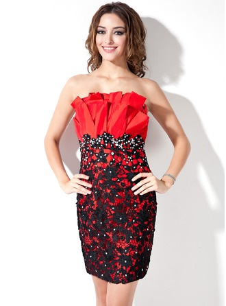 Sheath/Column Scalloped Neck Short/Mini Taffeta Lace Cocktail Dress With Ruffle Beading Sequins