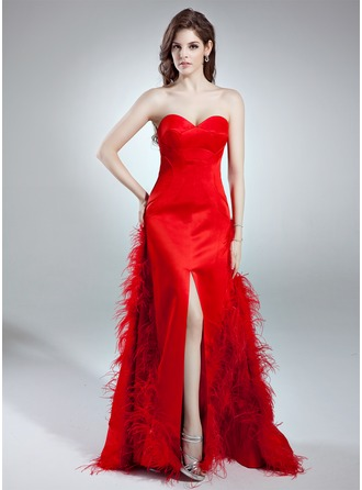 Trumpet/Mermaid Sweetheart Sweep Train Satin Prom Dress With Feather Split Front