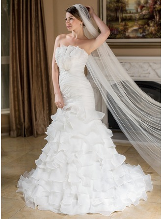 Trumpet/Mermaid Scalloped Neck Court Train Organza Wedding Dress With Flower(s) Cascading Ruffles