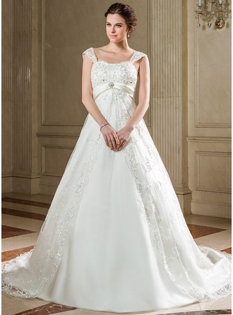 Empire Sweetheart Chapel Train Satin Tulle Wedding Dress With Lace Sash Beading Sequins