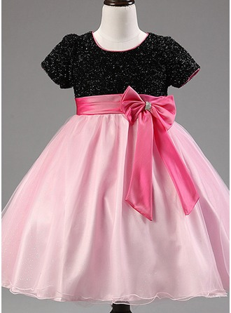 A-Line/Princess Knee-length Flower Girl Dress - Cotton Blends Short Sleeves Scoop Neck With Bow(s)
