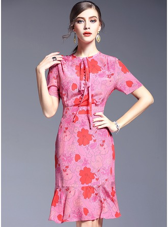 Spandex/Crepe de Chine With Print Midi Dress