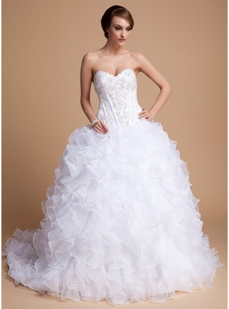 Ball-Gown Sweetheart Chapel Train Satin Organza Wedding Dress With Beading Sequins Cascading Ruffles
