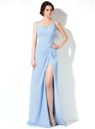 A-Line/Princess V-neck Sweep Train Chiffon Evening Dress With Ruffle Split Front