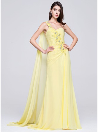 Trumpet/Mermaid One-Shoulder Sweep Train Chiffon Mother of the Bride Dress With Ruffle Lace Beading
