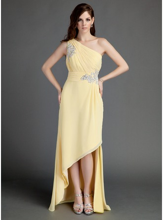 A-Line/Princess One-Shoulder Asymmetrical Chiffon Holiday Dress With Ruffle Beading Appliques