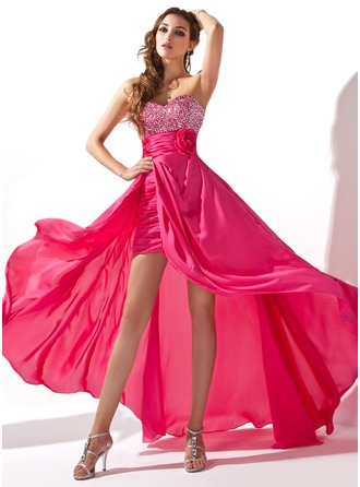A-Line/Princess Sweetheart Asymmetrical Detachable Satin Chiffon Prom Dress With Ruffle Beading Flower(s) Sequins