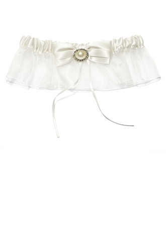 Classic Satin Organza With Bowknot Pearl Wedding Garter Skirt