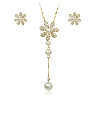 Flower Shaped Alloy/Pearl Ladies' Jewelry Sets