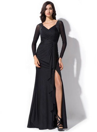 Trumpet/Mermaid V-neck Floor-Length Jersey Evening Dress With Beading Bow(s) Split Front Cascading Ruffles