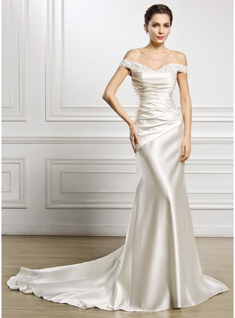 Trumpet/Mermaid Off-the-Shoulder Court Train Satin Tulle Wedding Dress With Ruffle Beading Appliques Lace Sequins