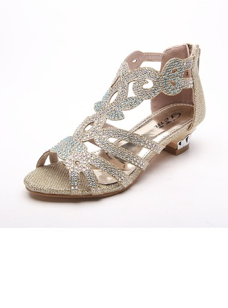 Girl's Leatherette Low Heel Peep Toe Sandals With Rhinestone