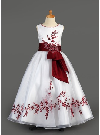 A-Line/Princess Scoop Neck Floor-Length Organza Charmeuse Flower Girl Dress With Embroidered Sash Beading Sequins