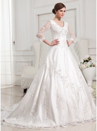 Ball-Gown V-neck Chapel Train Satin Tulle Wedding Dress With Lace Beading