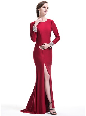 Trumpet/Mermaid Scoop Neck Sweep Train Jersey Evening Dress With Beading Appliques Lace Sequins Split Front