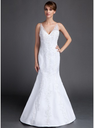 Trumpet/Mermaid V-neck Court Train Satin Wedding Dress With Beading Appliques Lace