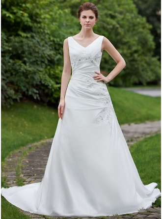 A-Line/Princess V-neck Chapel Train Taffeta Wedding Dress With Ruffle Beading Appliques Lace