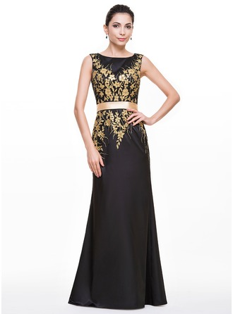 Trumpet/Mermaid Scoop Neck Floor-Length Satin Evening Dress With Appliques Lace