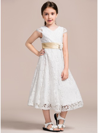 A-Line/Princess V-neck Tea-Length Lace Junior Bridesmaid Dress With Ruffle Flower(s)
