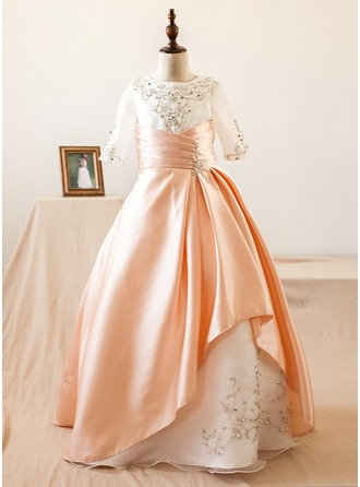 Ball Gown Floor-length Flower Girl Dress - Organza/Satin 3/4 Sleeves Scoop Neck With Beading