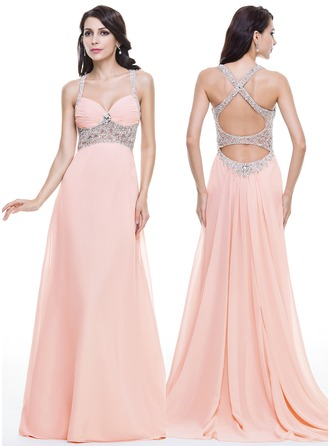 Trumpet/Mermaid Sweetheart Watteau Train Chiffon Tulle Evening Dress With Ruffle Beading Sequins