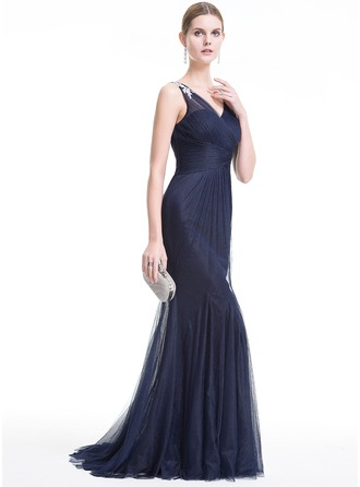 Trumpet/Mermaid V-neck Sweep Train Tulle Evening Dress With Beading Appliques Lace Sequins