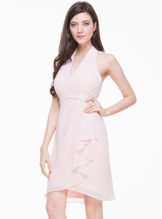 Sheath/Column Halter Knee-Length Chiffon Cocktail Dress With Cascading Ruffles