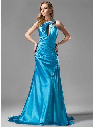 A-Line/Princess Halter Court Train Charmeuse Evening Dress With Ruffle Beading