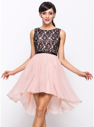 A-Line/Princess Scoop Neck Asymmetrical Chiffon Lace Cocktail Dress