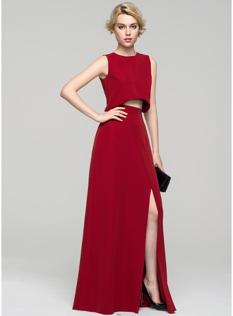 A-Line/Princess Scoop Neck Floor-Length Satin Evening Dress With Split Front