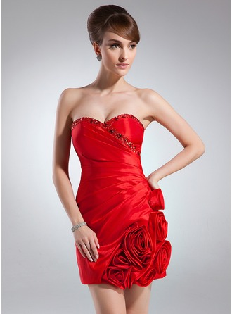 Sheath/Column Sweetheart Short/Mini Taffeta Cocktail Dress With Ruffle Beading Flower(s)
