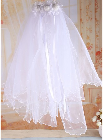 Tyl/Satin med Imiteret Pearl Flower Girl / Communion Slør