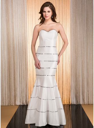 Trumpet/Mermaid Sweetheart Floor-Length Taffeta Evening Dress With Beading
