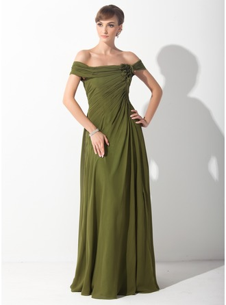 A-Line/Princess Off-the-Shoulder Sweep Train Chiffon Mother of the Bride Dress With Ruffle Flower(s)