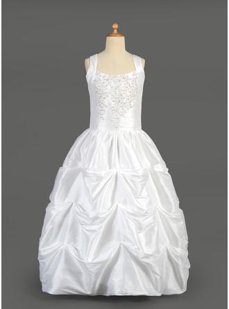 Ball Gown Floor-length Flower Girl Dress - Taffeta Sleeveless Scoop Neck With Beading/Sequins/Pick Up Skirt